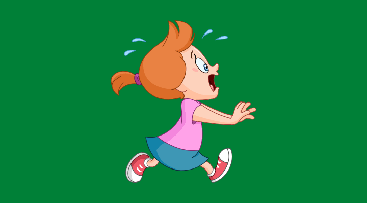 Female with panic disorder running and screaming while having a panic attack