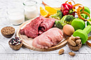 Foods for muscles building. Products with high level of protein - meat, dairy products, beans. Healthy clean eating background