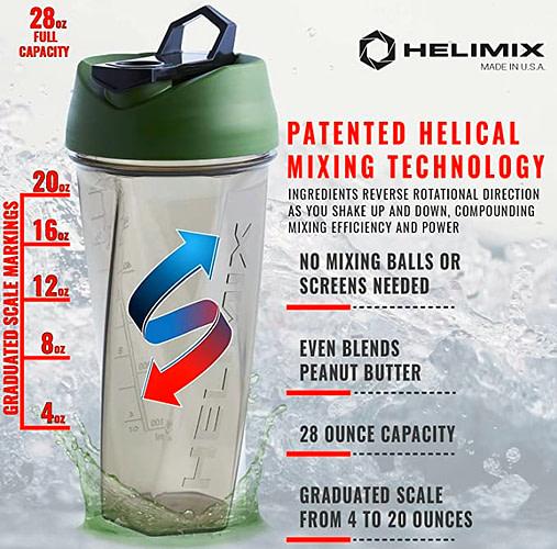 Helimix Vortex Blender Shaker Bottle with list of advantages