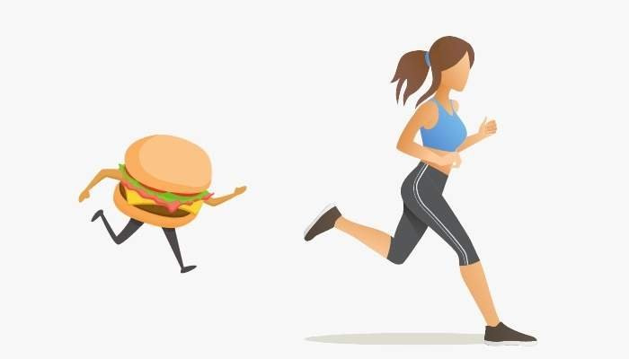 Exercise and weight loss hamburger chasing a runner losing weight
