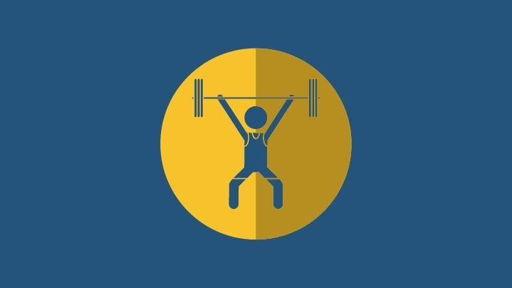 weight lifter with knee sleeves icon