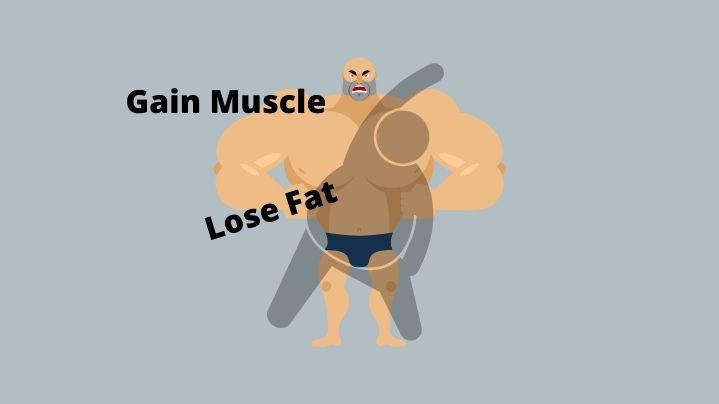 a fat dough boy figure exercising in front of a muscle man