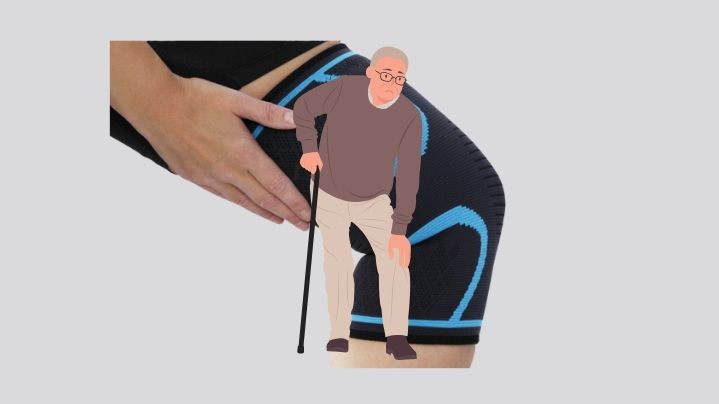 the best knee support for arthritis background and man with cane in foreground