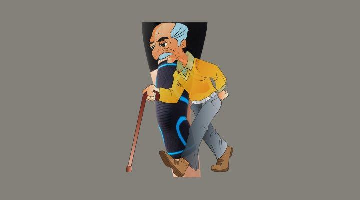 a black knee brace behind a man needing help to walk with arthritis