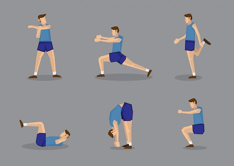 How To Warm Up For A Run infographic with 6 different exercises